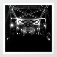 Nashville Nights - B&W Pedestrian Bridge Art Print
