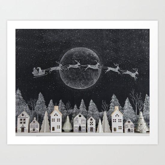 Christmas Village Chalkboard Santa & Reindeer by kellyelko