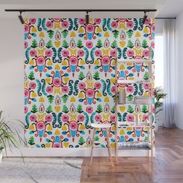 Colorful oriental watercolor floral pattern. Wall Mural