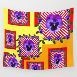 RED & PURPLE PANSIES YELLOW-ORANGE ABSTRACT Wall Tapestry