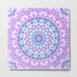 Beautiful Rose Blue Pastel Flower Mandala Metal Print