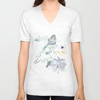 pisces V-neck T-shirts featuring PISCES by Chandelina