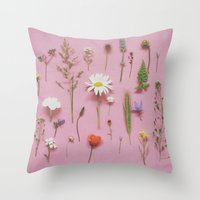 cassia beck Throw Pillows featuring Wild Flowers by Cassia Beck