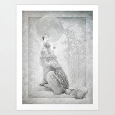 Wolf howl at the Moon Art Print