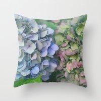hydrangea Throw Pillows featuring hydrangea by EnglishRose23