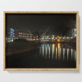 city at night - knights bridge leeds Serving Tray