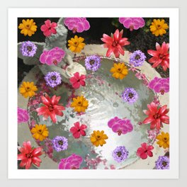Flowers over Fountain Art Print