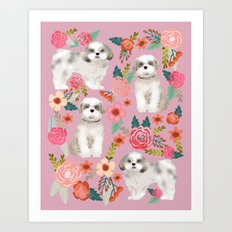 Shih Tzu florals love gift for dog person pet friendly portrait dog breeds unique small puppy Art Print