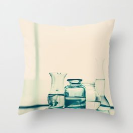 Crystal jars and bottles (Retro and Vintage Still Life Photography) Throw Pillow