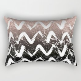 Modern faux rose gold glitter black marble chevron Rectangular Pillow