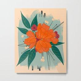 Orange Burst Florals Metal Print