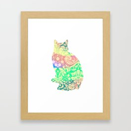 Lace Cat Silhouette Framed Art Print
