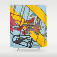 aviation Shower Curtains featuring Wilbur and Orville Wright, 1903 by Magnetic Boys