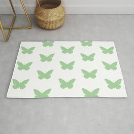 Mint Butterfly Pattern and Print Rug