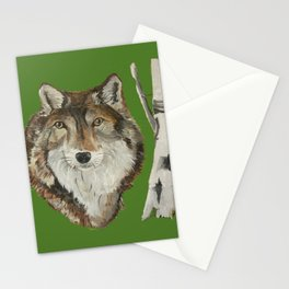 Lone Wolf on Green Stationery Cards
