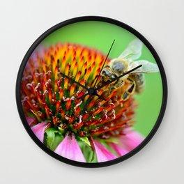 Bee on purple flower Wall Clock
