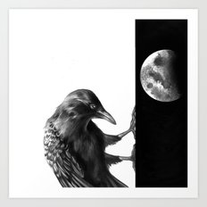 Crow and the Moon 3 Art Print