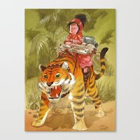 bouletcorp Canvas Prints featuring Fluo Tiger by Bouletcorp