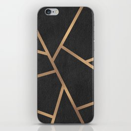 Dark Grey and Gold Textured Fragments - Geometric Design iPhone Skin