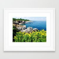 maine Framed Art Prints featuring Maine  Coast by S. Miste
