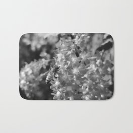 Bee and Blood Currant Ribes Sanguineum bw Bath Mat