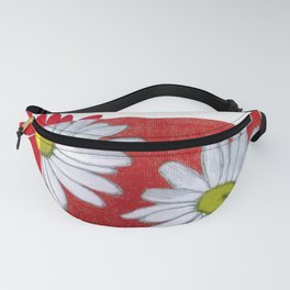 Daisies in red Fanny Pack