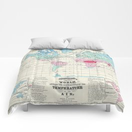 Vintage World Climate Map (1870) Comforters