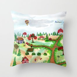 A Scarecrow in the Garden Throw Pillow