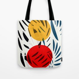 Yellow and Red Abstract Art Graphic Design Tote Bag