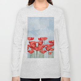 Poppyfield poppies poppy blue sky - watercolor artwork Long Sleeve T-shirt