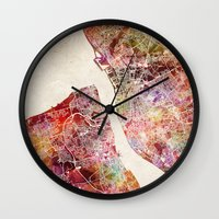 liverpool Wall Clocks featuring Liverpool by MapMapMaps.Watercolors