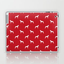 Great Dane dog breed pattern minimal simple red and white great danes silhouette Laptop & iPad Skin