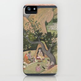 Rama, Sita, and Lakshmana at the Hermitage of Bharadvaja Illustrated folio from a dispersed Ramayana iPhone Case