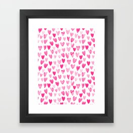 Hearts Pattern watercolor pink heart perfect essential valentines day gift idea for her Framed Art Print