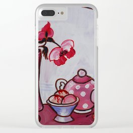 Still life poppies Paris ice cream rose painting by Ksavera Clear iPhone Case