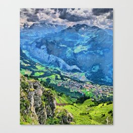 Overlooking Wengen, Switzerland from up high Canvas Print
