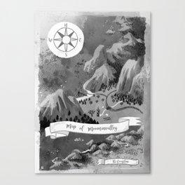 Moominvalley Map interpretation (Black & White) Canvas Print