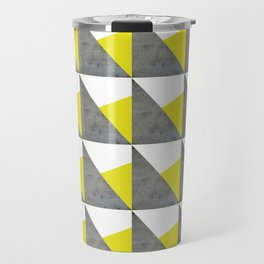 Gray Yellow White Triangles Pattern Travel Mug
