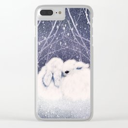 Winter Bunnies Clear iPhone Case