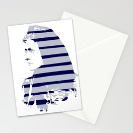 Blue Woman Vintage Illustration Minimal with stripes Stationery Cards