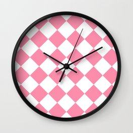Large Diamonds - White and Flamingo Pink Wall Clock