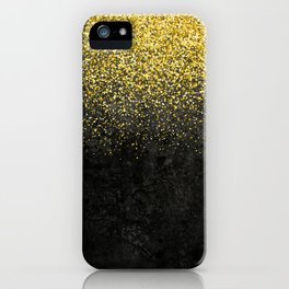 Gold glitter & Black grunge iPhone Case