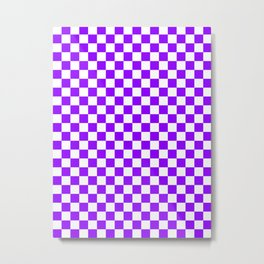 Small Checkered - White and Violet Metal Print