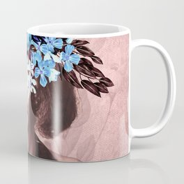 Floral Woman Vintage Blue and Pink Rose Gold Coffee Mug