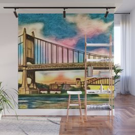 New York & Queens Hell Gate and Triborough Bridges Sunset Landscape Painting Wall Mural