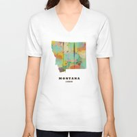 montana V-neck T-shirts featuring Montana state map modern by bri.buckley