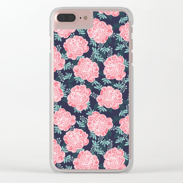 Peony Flowers navy pink and white modern colors for office home or college dorm decor Clear iPhone Case