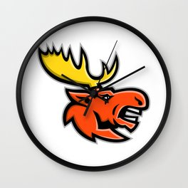 Angry Moose Head Mascot Wall Clock