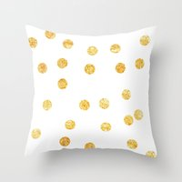 gold dots Throw Pillows featuring Gold Dots by SPACE317