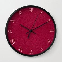 Dark red ragged cardboard closeup texture Wall Clock
